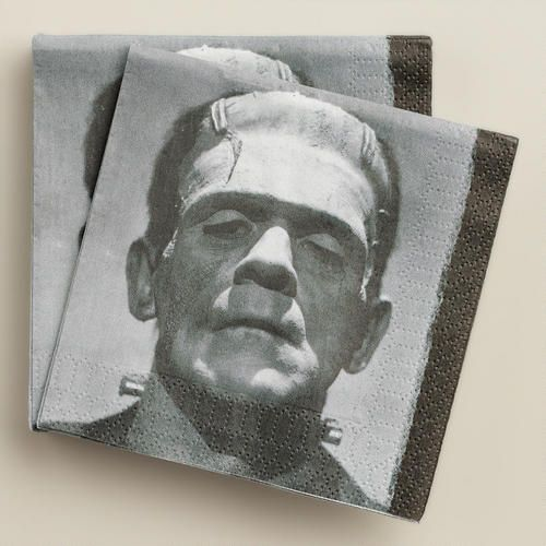 Frankenstein's Monster Beverage Napkins at Cost Plus World Market >> #WorldMarket Halloween #HalloweenDecor #HalloweenEntertaining
