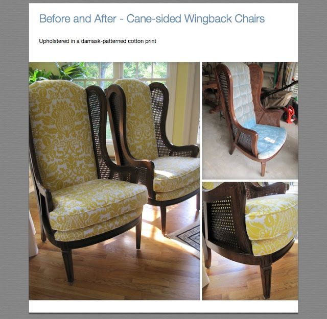Vintage Lewittes Cane Sided Wingback Chairs Reupholstered
