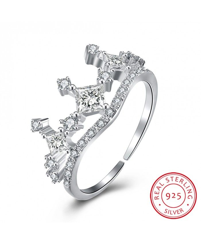 Give the story of your life. Ouruora 925 Silver Clear CZ Crown Engagement Ring.