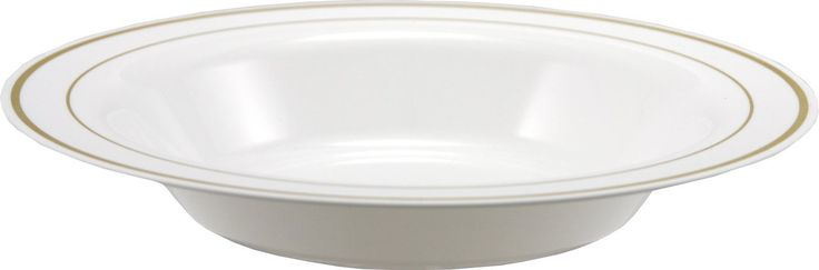 23cm white plastic deep plates with gold rim from Mozaik by Sabert for soups, pasta or salads, these look like real china and perfect for entertaining or for casual occasions such as barbeques or picnics. Designed to be disposable but can be reused with careful washing.