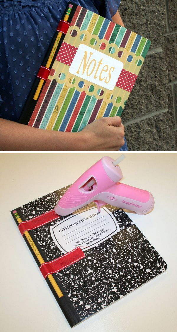 PAPER CRAFTS :: DIY Pencil Holder Notebook :: RESTYLE a regular notebook or composition book w/ some scrapbook paper & ribbon to make this handy & cute pencil holder on the notebook. | #omycrafts