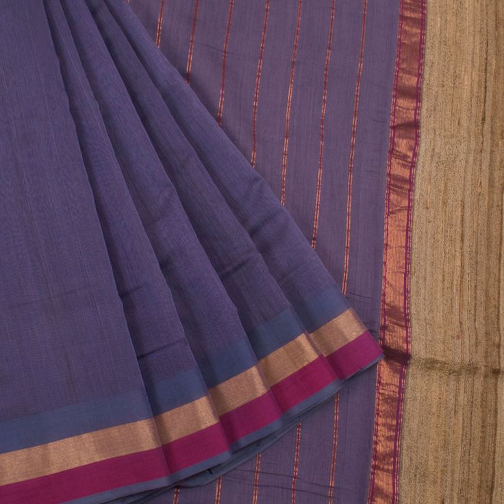 Buy online Handwoven Lavender Maheshwari Silk Cotton Saree With Multicolour Border & Geecha Pallu 10013191