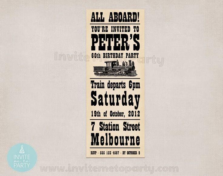 Invite Me To Party: Vintage Train Invitation
