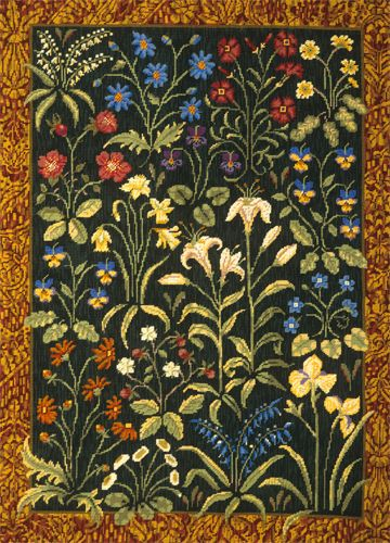 Medieval floral needlepoint by Candace Bahouth