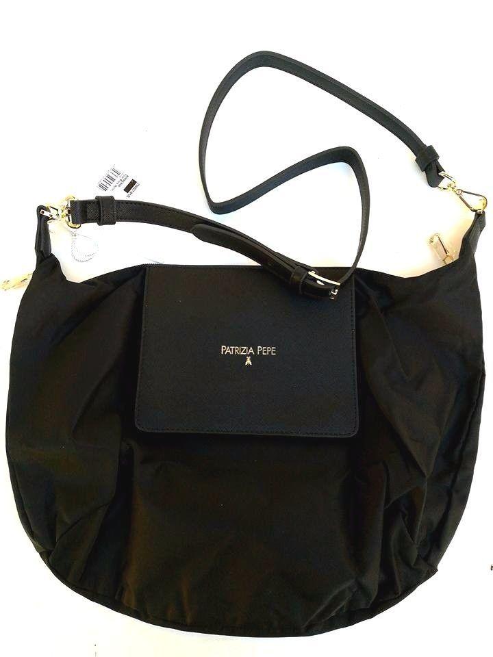 Borsa Patrizia Pepe Tracolla Trasformabile Shopping Nylon Eco Pelle Nero  Black Tracolla Patrizia Pepe - Borsa 42f459ab139