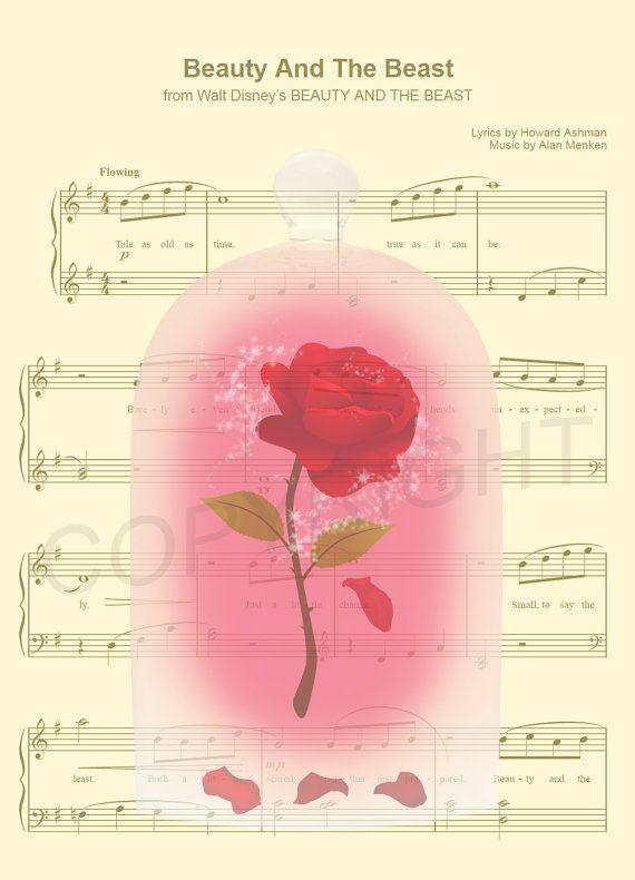 La belle et la bête la Rose enchantée feuille par AmourPrints