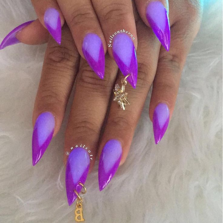 Purple glow in the dark two tone  nails with charms  #purple #blackgirlnails #nailcharms