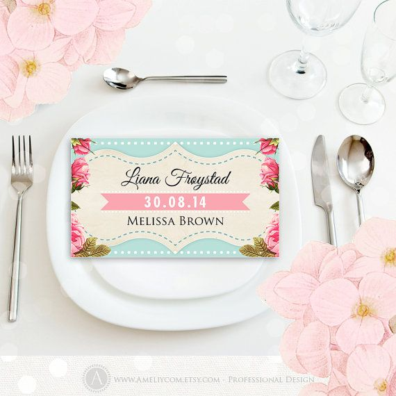 Printable Place Card Instant Download Vintage Teal & Pink Rose Editable Template PDF Wedding PlaceCard, Escort Cards, Tent Cards, Name Tags #Template #Etsy