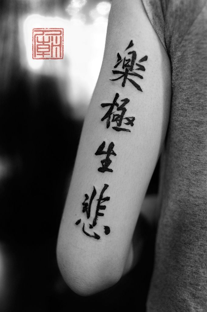 Wauw, I really love this! Chinese Kanji Calligraphy Tattoo on Upper Arm.