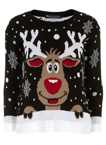 Blk christmas reindeer jumper - Knitwear  - Clothing