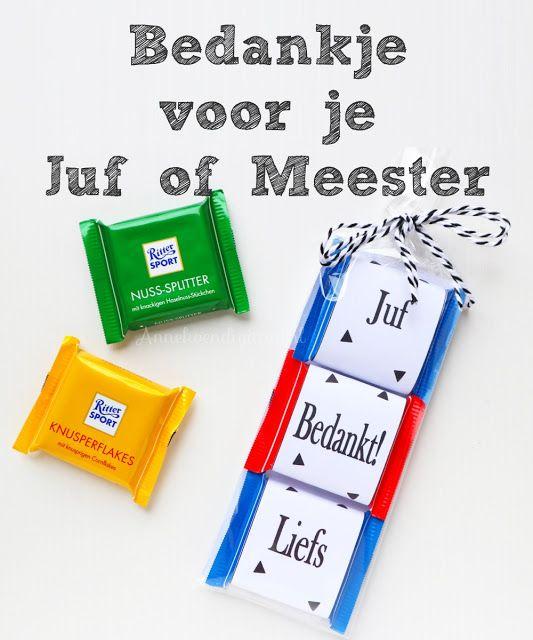 Blog over Feestelijke Traktaties, Printables, Sweet Tables en Taart!: Juf of Meester bedankje