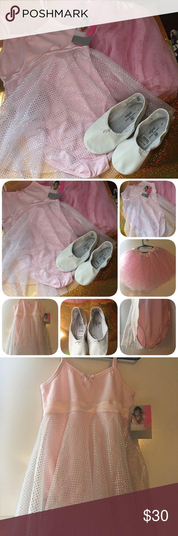 Danskin new w heart glitter tutu/ballerina slipper Danskin new with tag size 6-6X with heart glitter tutu and ballerina slippers size 1 US new Danskin Dresses