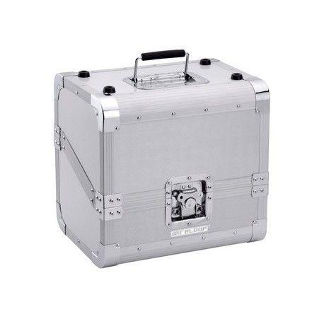 PROMOTION = 59 € TTC Reloop 80 CASE 50/50 SLANTED SILVER Valise aluminium de transport pour 80 vinyles
