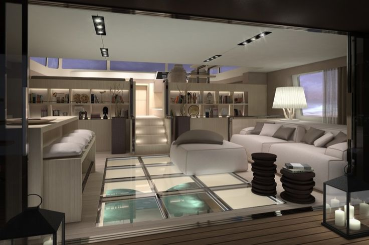 Luxury catamaran concept / Dubbed Picchio Boat (Woodpecker Boat), this luxury catamaran concept from yacht designer Christian Grande boasts large living zones, luxury furnishings and a stunning glass-bottom master bedroom.
