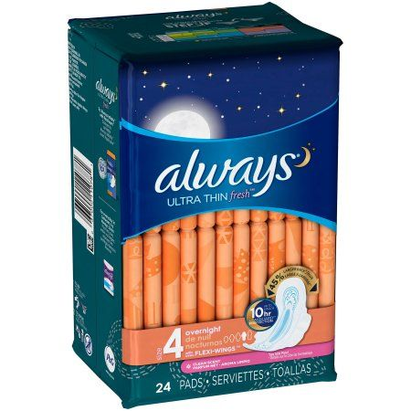 Always Fresh Ultra Thin Flex-Wings Overnight Pads - 24 CT, Multicolor