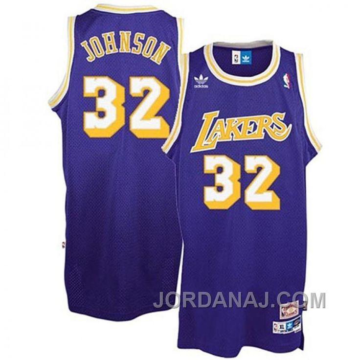 Magic Johnson Los Angeles Lakers #32 Earvin Purple Throwback Jersey