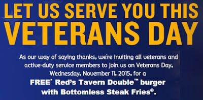 Red Robin 2015 Veterans Day FREE Burger and Fries