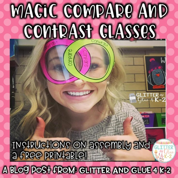 A fun way to teach your students about comparing and contrasting! Use these magic compare and contrast sunglasses to teach your students about Venn Diagrams! Get the template and directions for free! Keywords: compare and contrast, Venn diagram, freebies, elementary school, comprehension, graphic organizers.