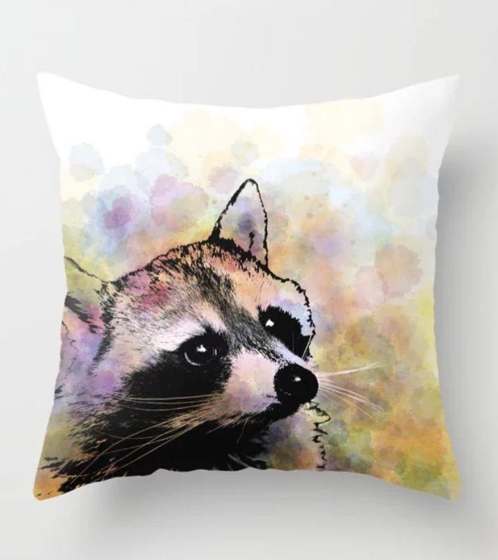 Throw Pillow, Cushion Case, Raccoon