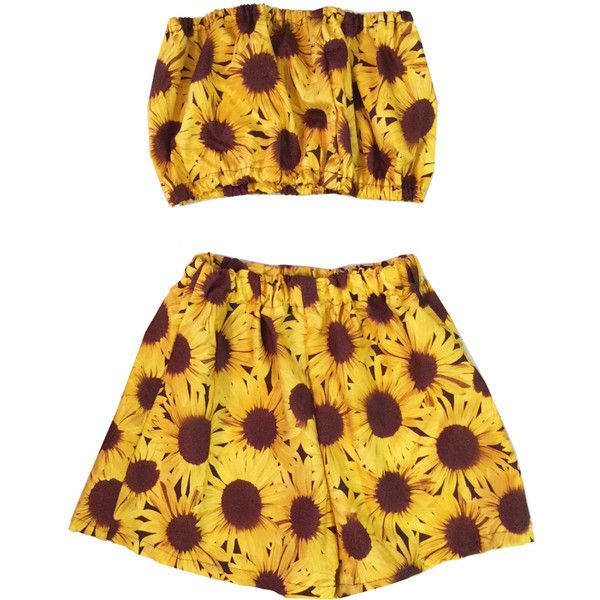 Sunflower Co-ord Two Piece Bandeau Top Shorts Beach Holiday Summer... ($40) ❤ liked on Polyvore featuring floral bandeau bikini top, bandeau bikini top, floral two piece, floral bandeau top and bandeau tops