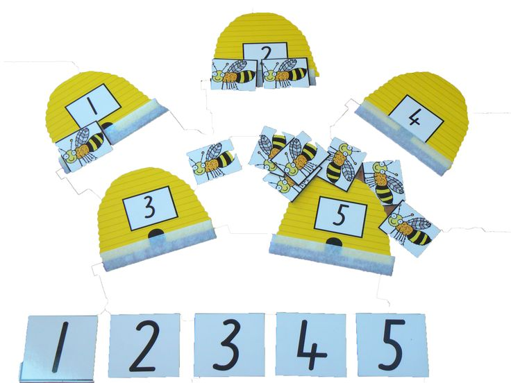 Bee Hive Game.  Match the correct number of bees to the printed numeral on the bee hive.  This resource motivates children to ensure success