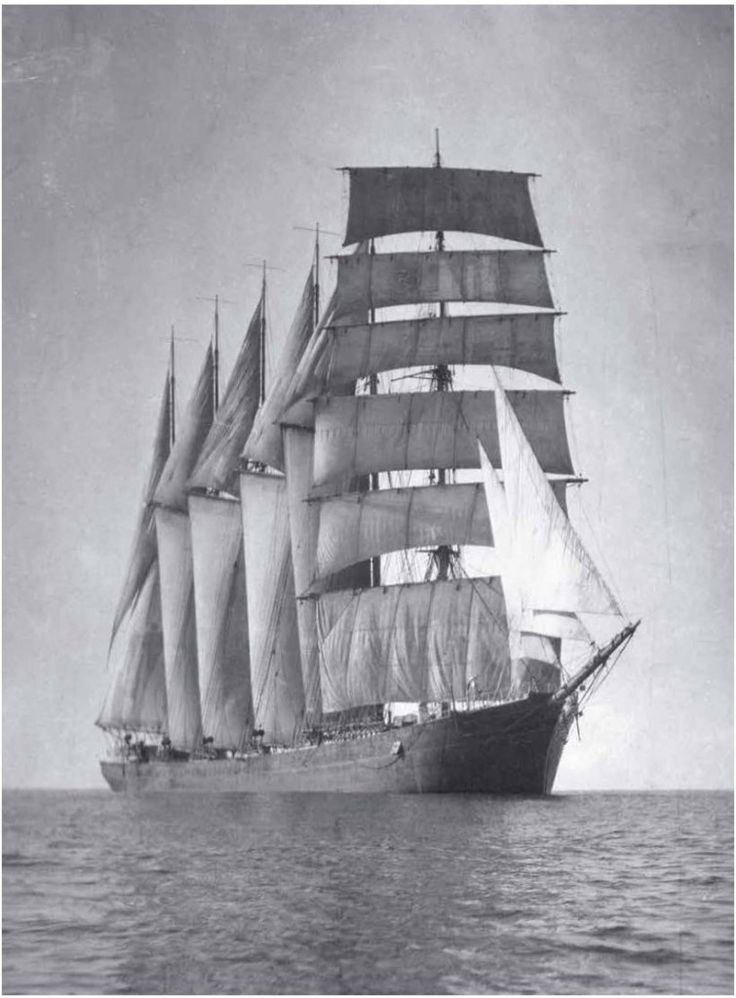 The captain's beloved six-masted barquentine E R Sterling under sail in all its splendour. All photographs from the Samuel J Hood studio collection courtesy of the Australian National Maritime Museum