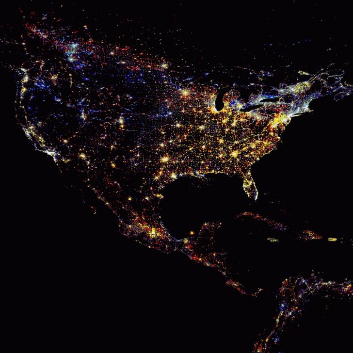 Earth At Night Illuminated By The Grid