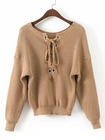 Suéter de hombros caídos con cordón