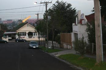 "Mincha Street, West Brunswick, where Judy Moran is alleged to have left the getaway car, following the shooting of Desmond ""Tuppence"" Moran."