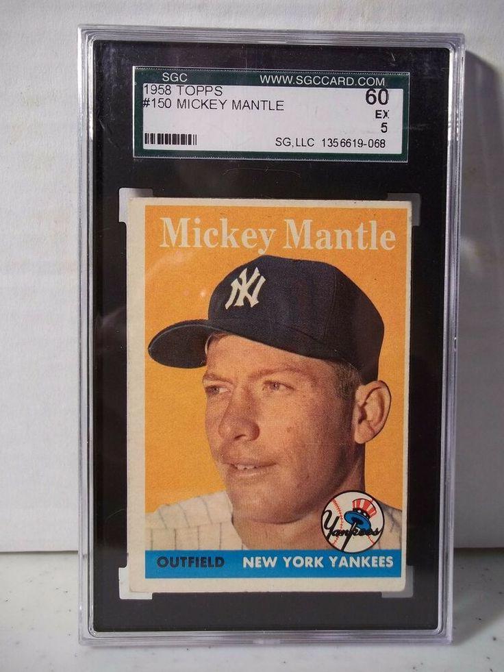 1958 topps mickey mantle sgc ex 5 baseball card 150 mlb