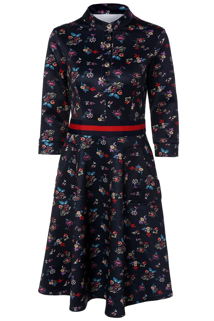 $24.91 Floral Print Contrast Dress with Pockets