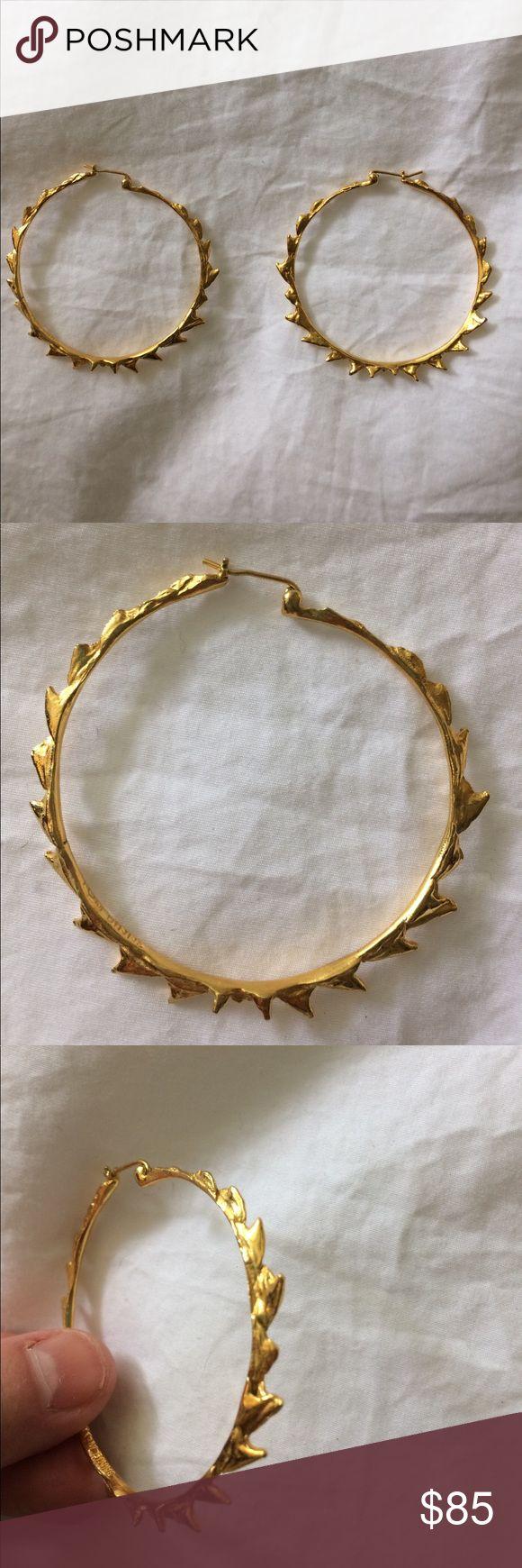 Tom Binns shark tooth hoops Large hoops that look like shark teeth. 24k plated brass. Purchased from Moda Operandi but haven't worn them much. Tom Binns Jewelry Earrings