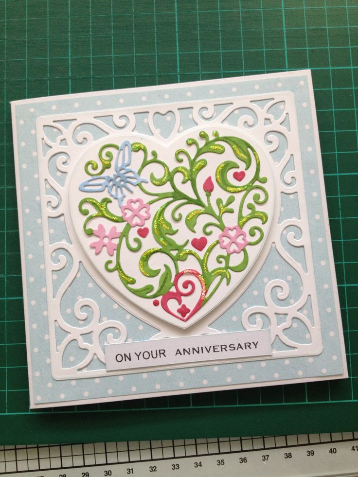 wedding anniversary card with tonic and apple blossom dies