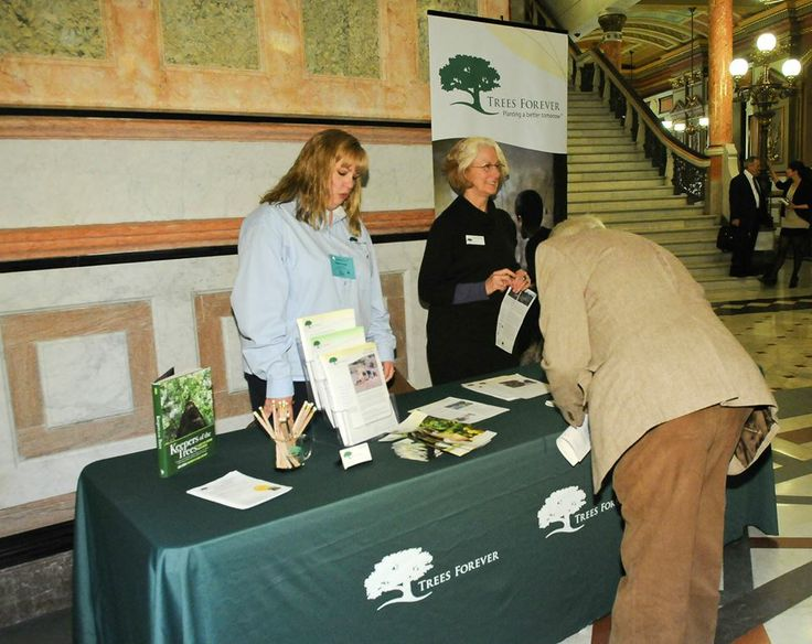 "The Trees Forever organization display a variety of informational pamphlets and brochures on Feb. 25 in the Capitol rotunda, highlighting their mission to ""Plant a better tomorrow"" by empowering people to plant and care for trees and the environment in their communities."