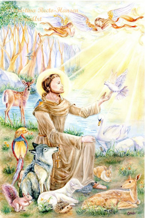 Religious Art ~ St. Francis of Assisi with animals in forest ~ Franciscan Art ~ Christian Art ~ {Christina Hansen, artist}