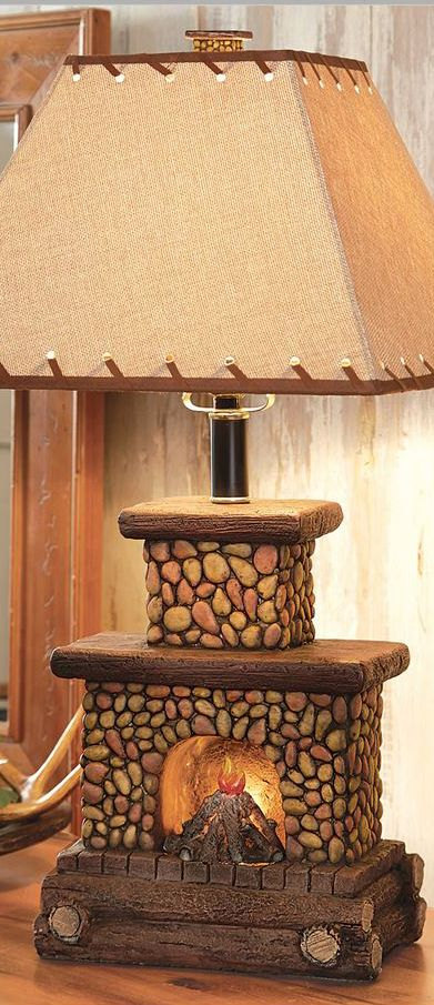Fireplace Table Lamp Rustic Home Decor Pinterest