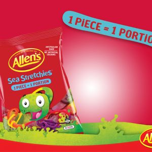 A bulk box of 12 bags of Allens Sea Stretchies.
