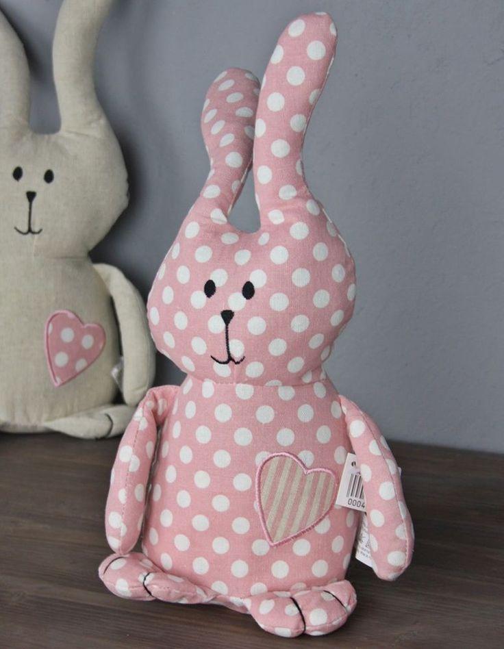 Türstopper Hase Bunny grau rosa Punkte Kissen Doorstop + Füllung Deko Sand