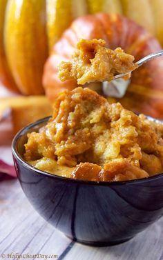 Crockpot Pumpkin Bread Pudding - hollyscheatday