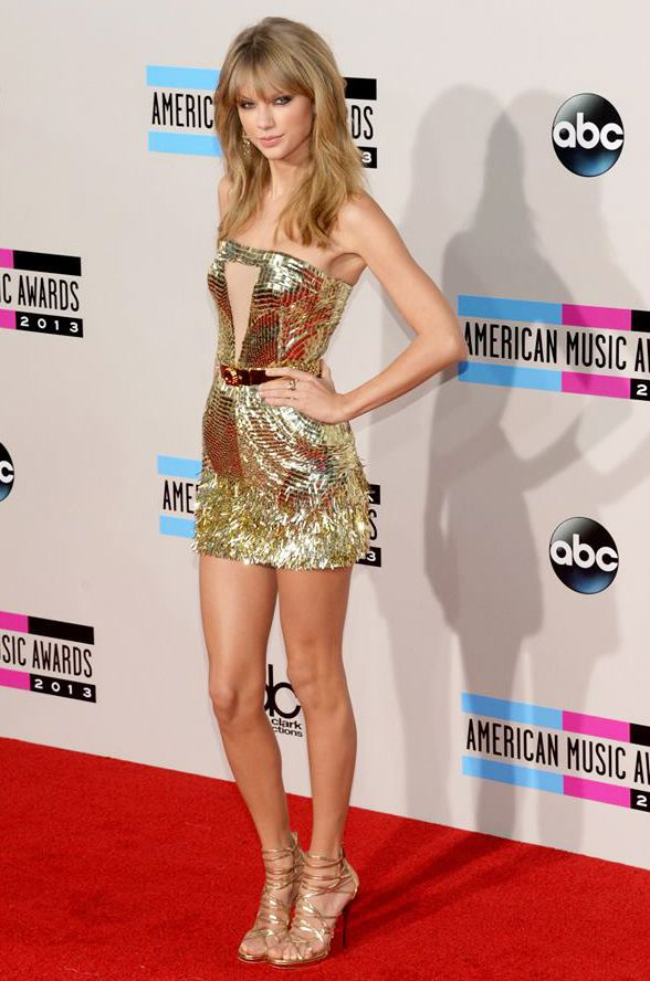 Taylor Swift in Golden short dress by Julien MacDonald at ...