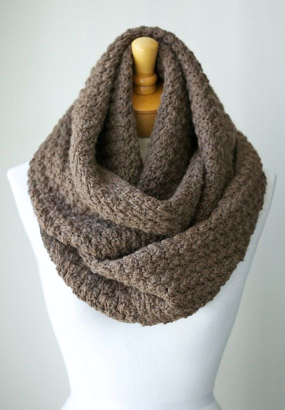 Wool Scarf, Infinity scarf in Medium Taupe color, Peruvian Wool Infinity Cowl, Crochet Eternity Cowl, Loop Scarf - Natural and Undyed