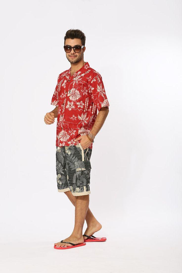 Hawaiian Print Shirts Large Cotton Short-Sleeved Dress Shirts Hawaii Cruise Tropical Maple Leaf Beach Nautical Palm Shirt
