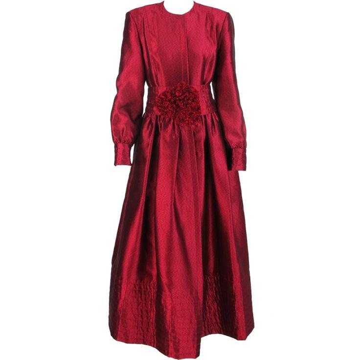 1stdibs.com | Geoffrey Beene tongue-in-cheek garnet silk gown 1970s