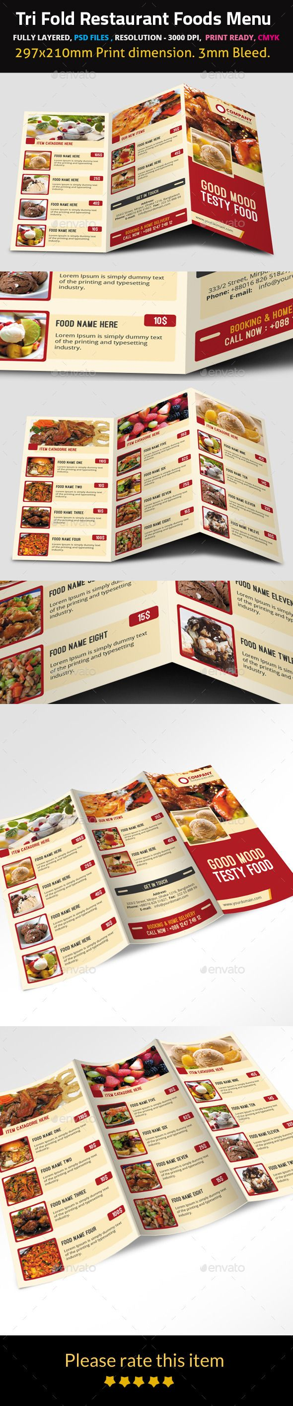 Tri Fold Restaurant Foods Menu