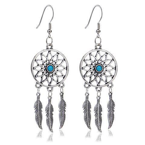 Pár Spanilá Faux Turquoise Feather náušnice pro ženy