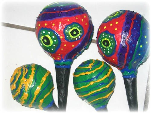 Music Shakers or Maracas made with Paper Mache'