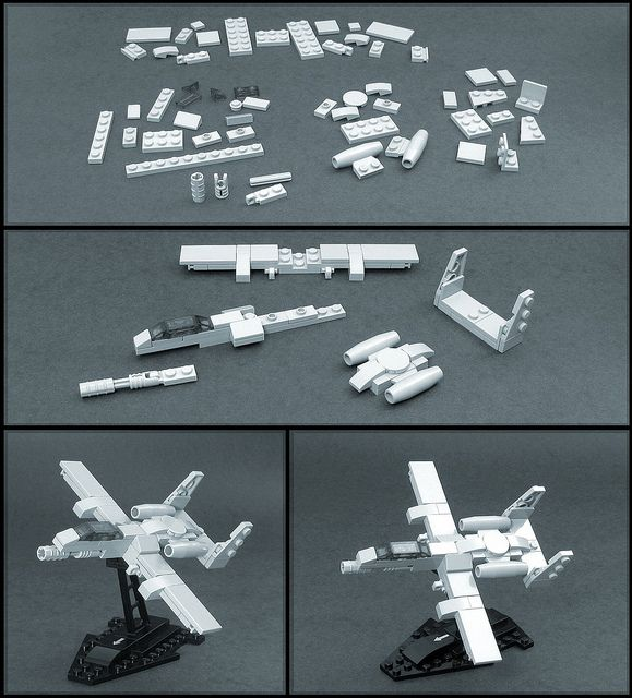 "For the enjoyment of his fellow military aviation buffs, builder ama77what has beautifully reverse-engineered this microscale A-10 ""Warthog"" fighter jet from a knock-off brand of building block, recreating it using bona-fide LEGO pieces and presenting it in the form of this handy single-page building guide. There really is nothing more to say here than go …"