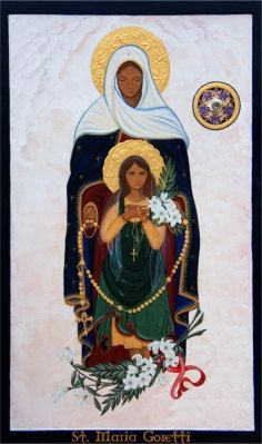 16x20 Icon Print of St. Maria Goretti, This is an original icon that I painted for our church several years ago. Saint Maria Goretti prints are