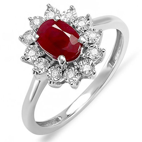 Kate Middleton Diana Inspired 10K White Gold Diamond & Ruby Engagement Ring 1 1/4 CT (Size 7)