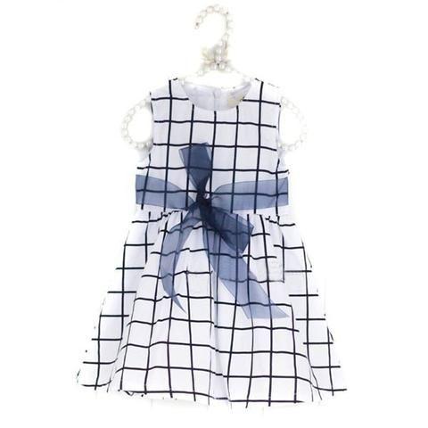 White / Black Grid Sleeveless Casual Dress